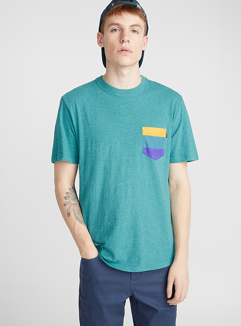 Organic cotton pocket T-shirt - Short sleeves & 3/4 sleeves - Teal