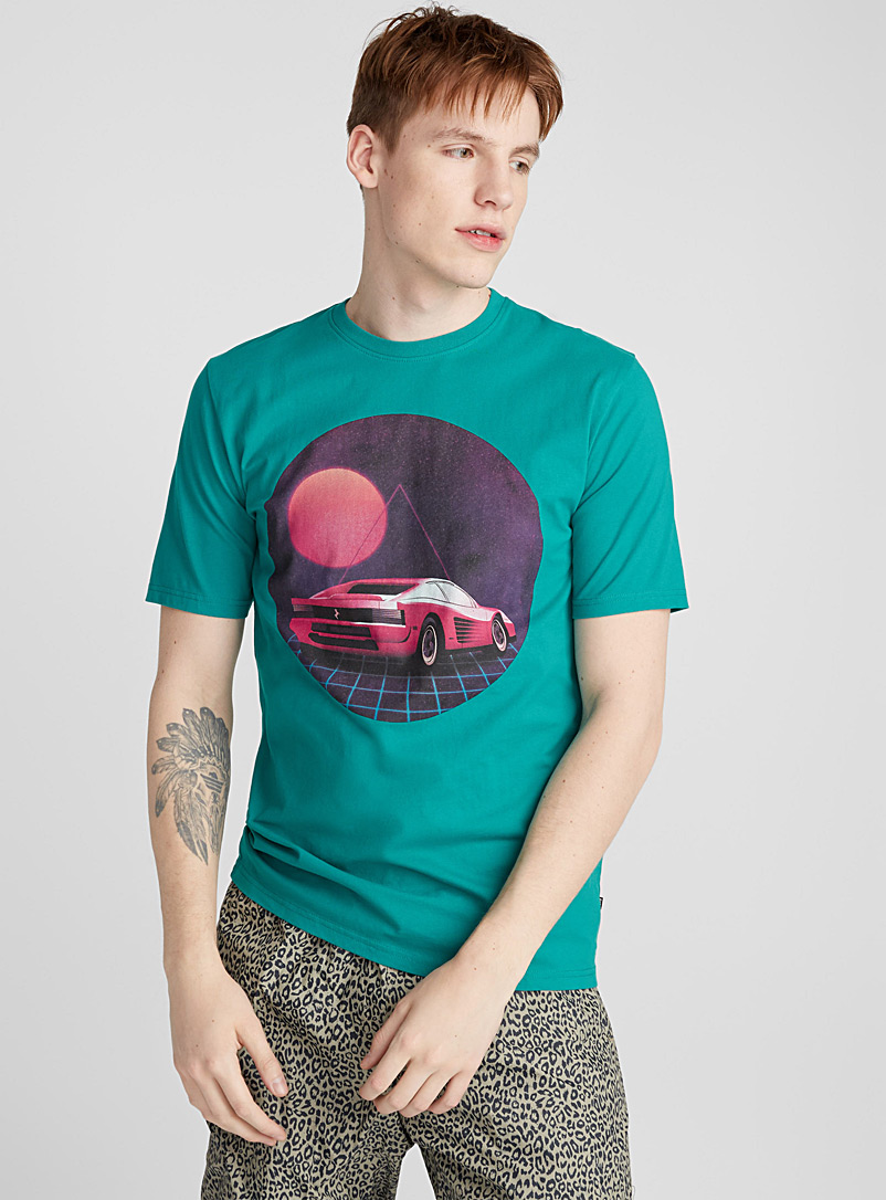 Organic cotton thick jersey T-shirt - Prints - Teal