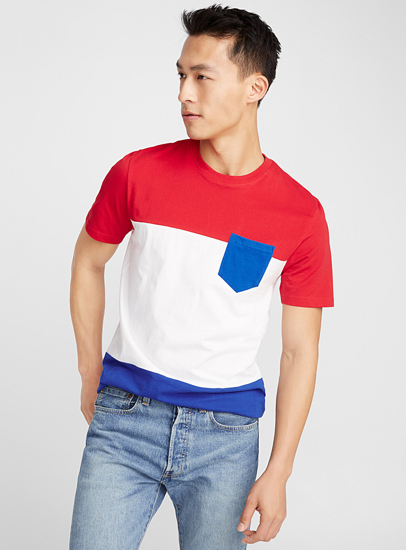 Colourful block organic cotton T-shirt   - Short sleeves & 3/4 sleeves - Ruby Red