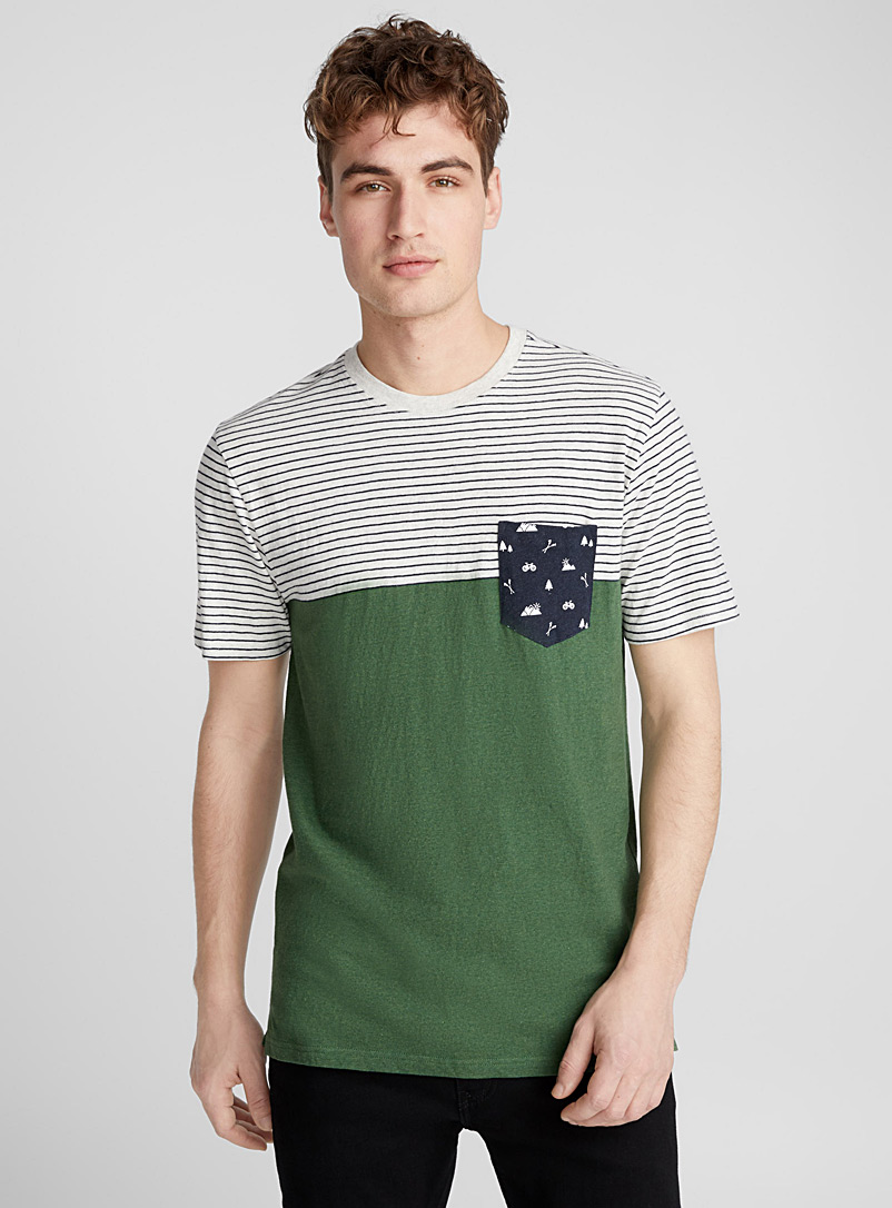 Nautical pocket organic cotton T-shirt - Prints - Mossy Green