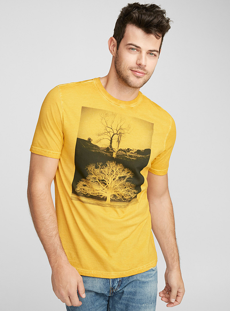 Monochrome-print oil-washed T-shirt - Prints - Assorted