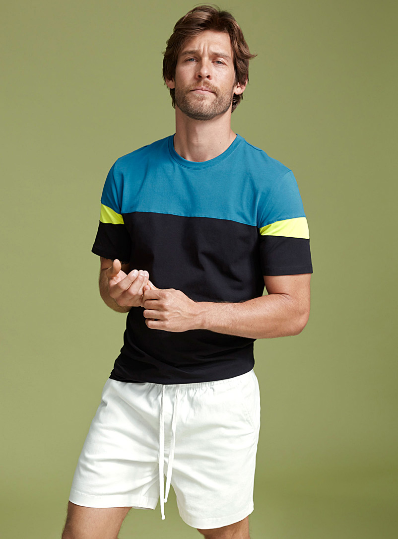 Colour block T-shirt - Short sleeves & 3/4 sleeves - Blue