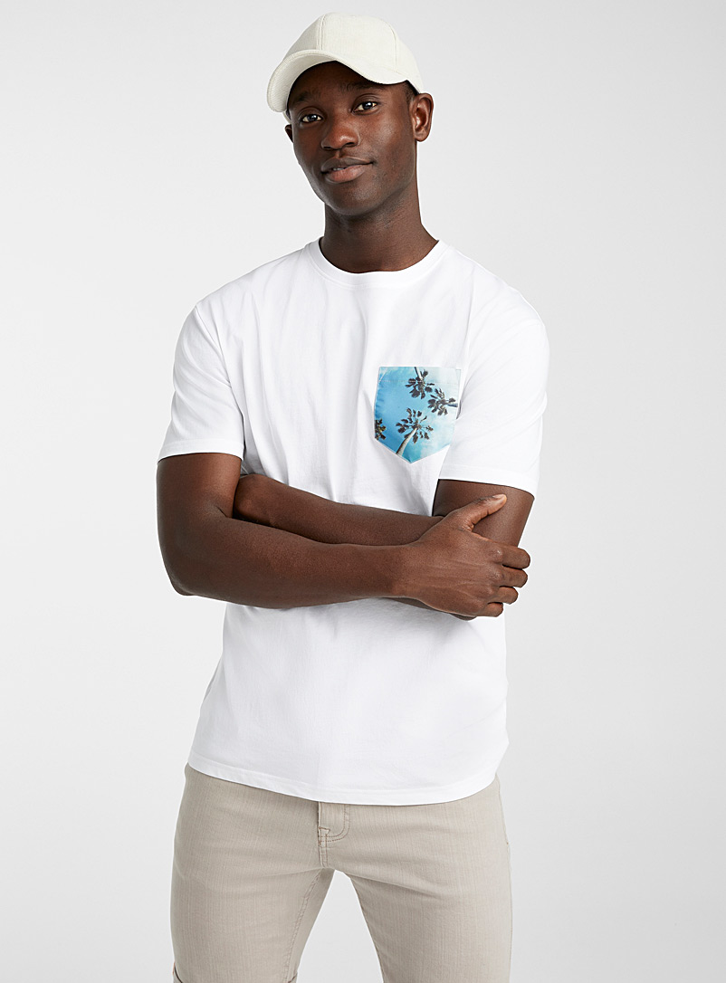 Le 31 White Expressive pocket organic cotton T-shirt for men