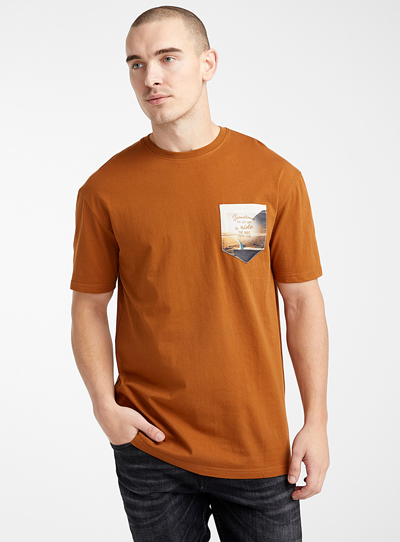 Le 31 Copper Expressive pocket organic cotton T-shirt for men