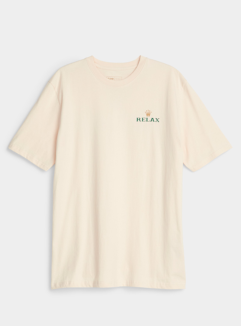 Djab Cream Beige Organic cotton ludic logo T-shirt for men