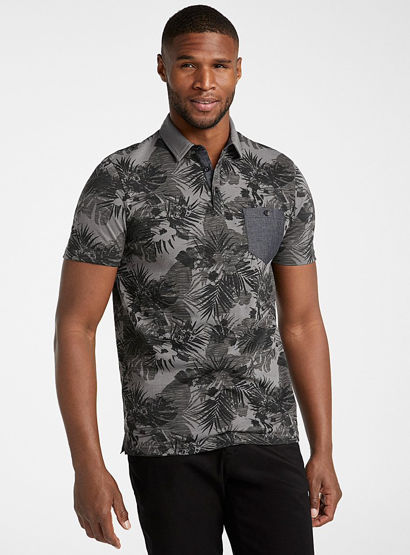 Le 31 Black Vacation pattern polo for men