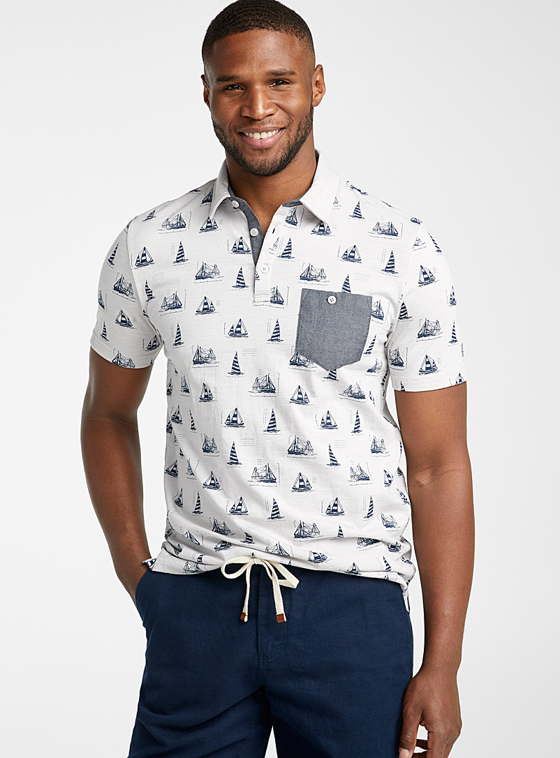 Le 31 Grey Vacation pattern polo for men