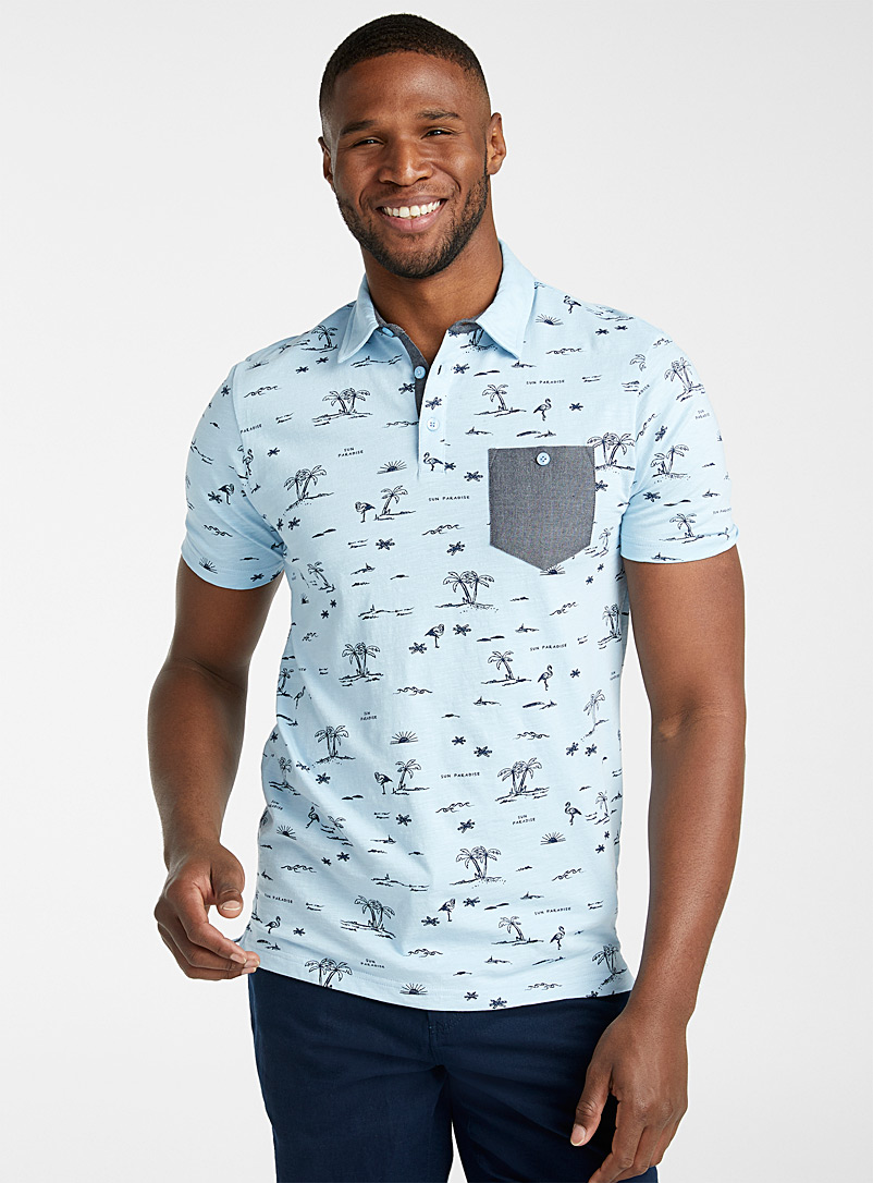 Le 31 Baby Blue Vacation-pattern polo for men