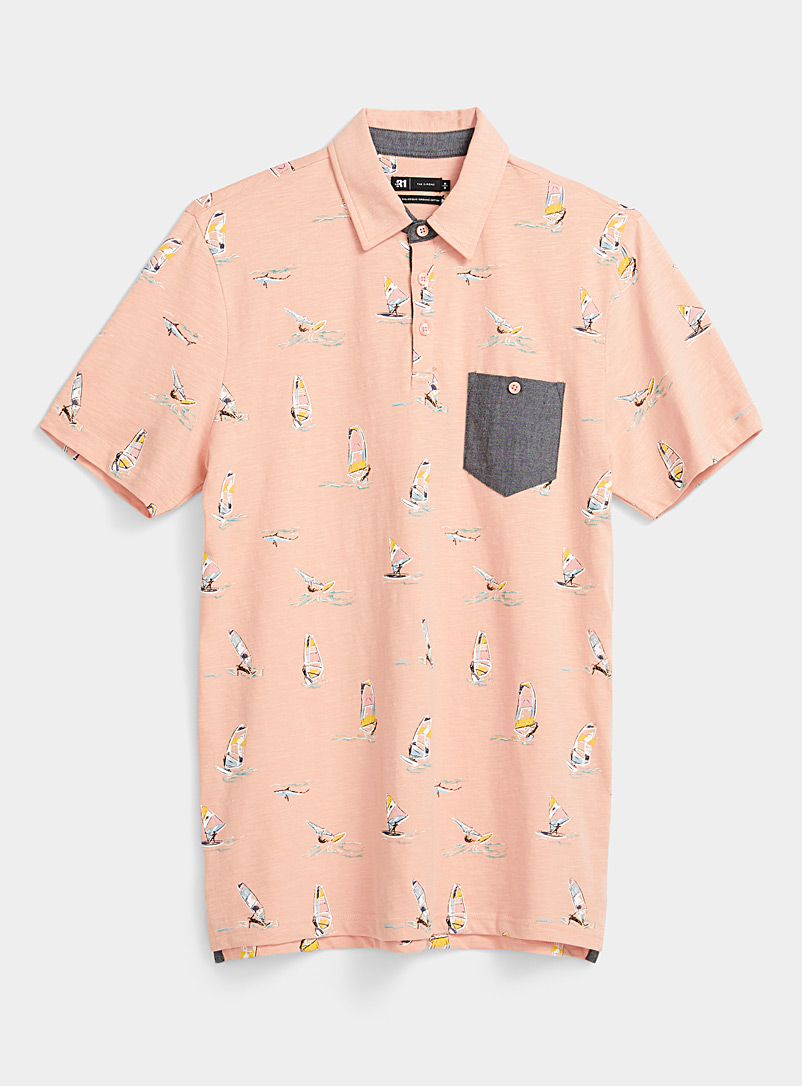 Le 31 Dusky Pink Vacation-pattern polo for men