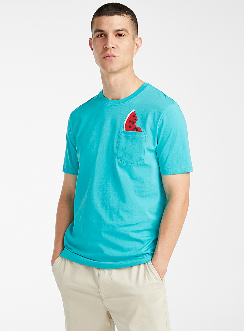 Le 31 Teal Fruity pocket T-shirt for men