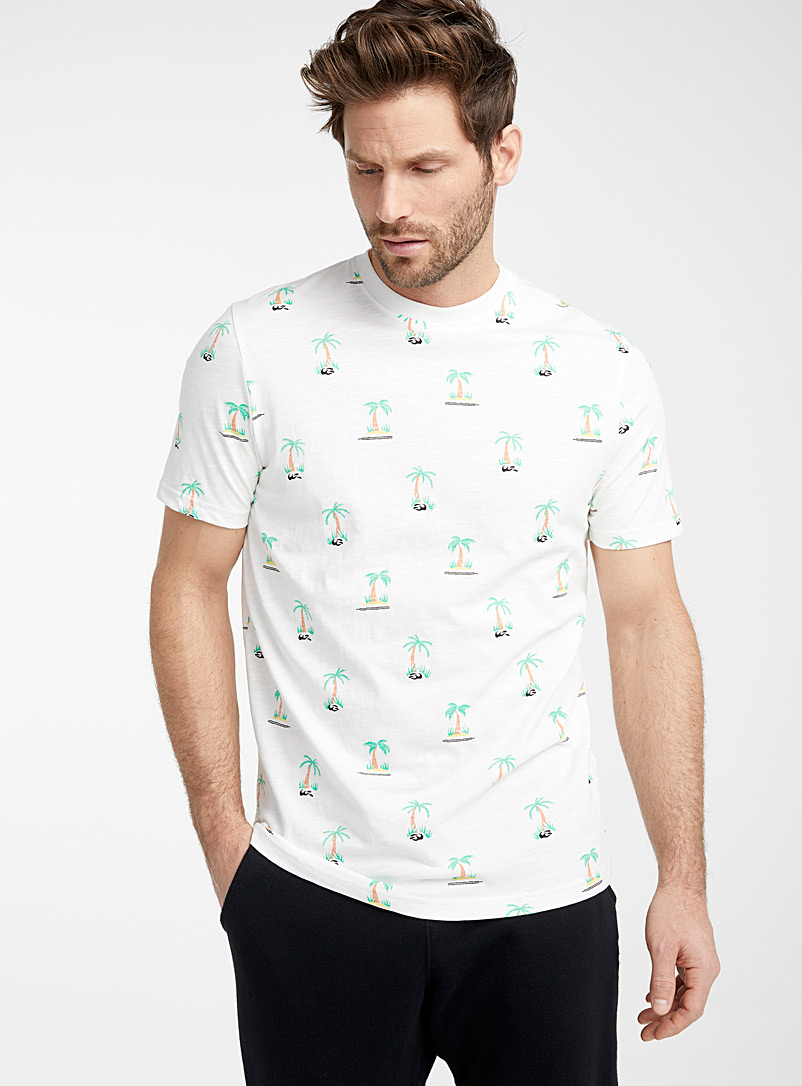 Le 31 Ivory White Tropical foliage organic cotton T-shirt for men
