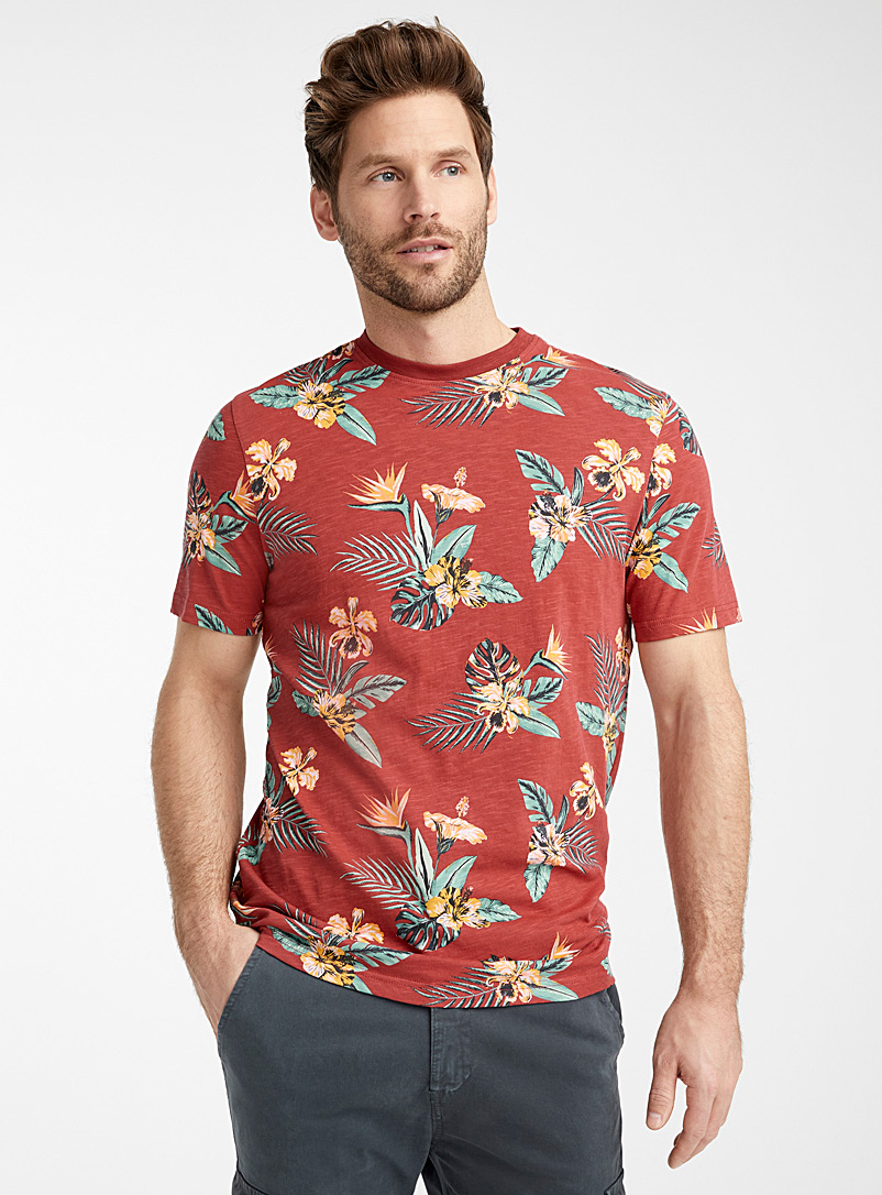Le 31 Red Tropical foliage organic cotton T-shirt for men