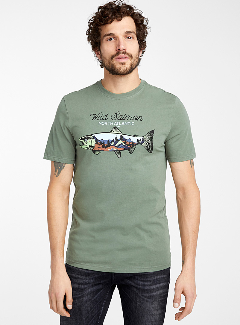 Le 31 Green Fisherman T-shirt for men