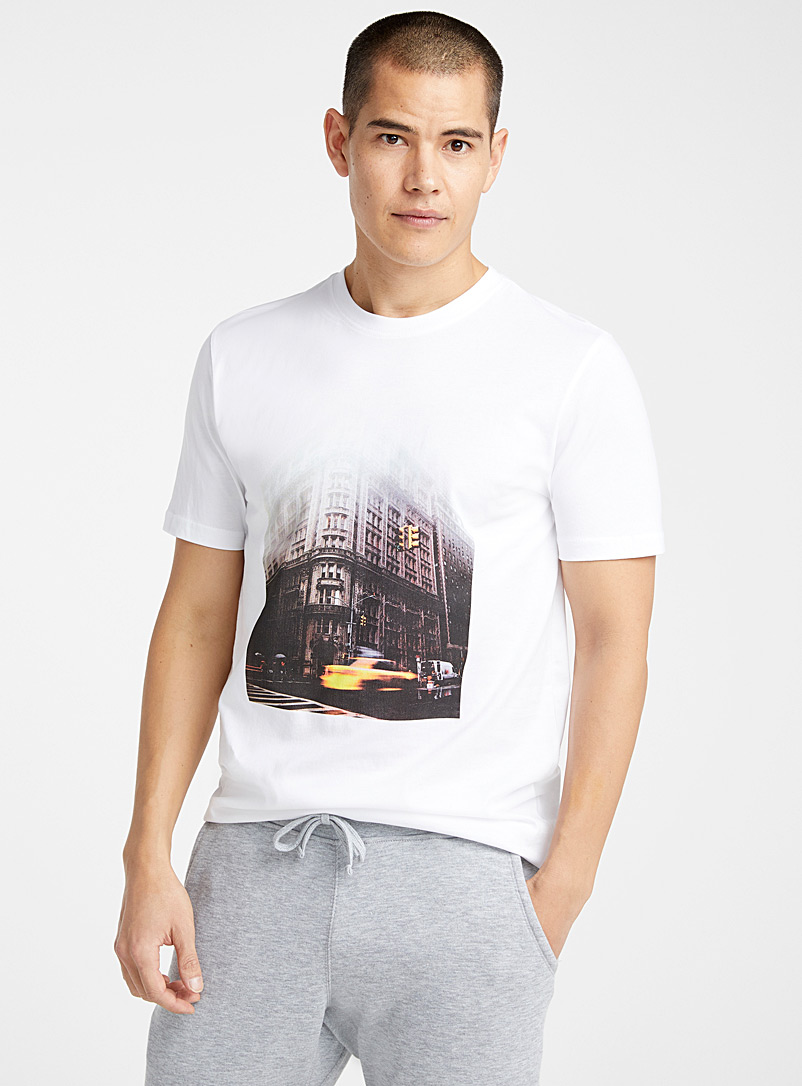 Le 31 White Organic cotton urban photo T-shirt for men