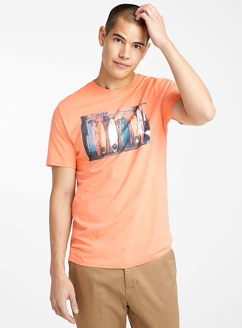Le 31 Peach Organic cotton urban photo T-shirt for men