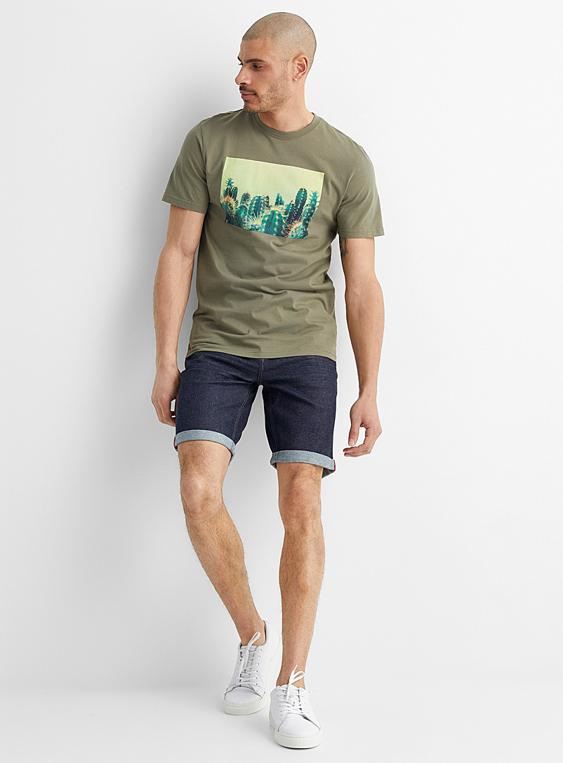 Le 31 Mossy Green Exotic accent tee for men