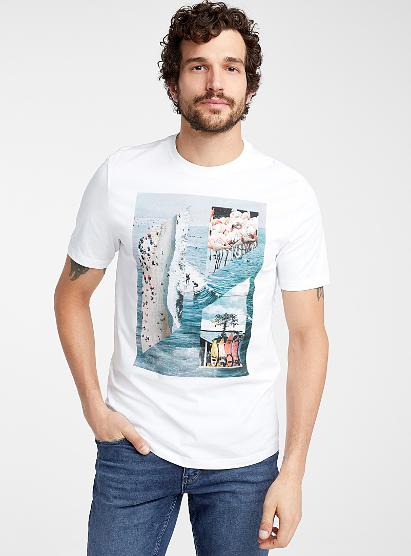 Le 31 White Postcard geometry T-shirt for men
