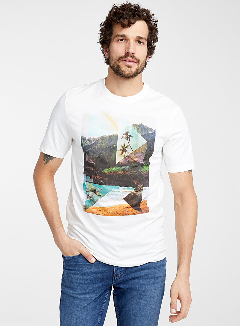 Le 31 Ivory White Postcard geometry T-shirt for men