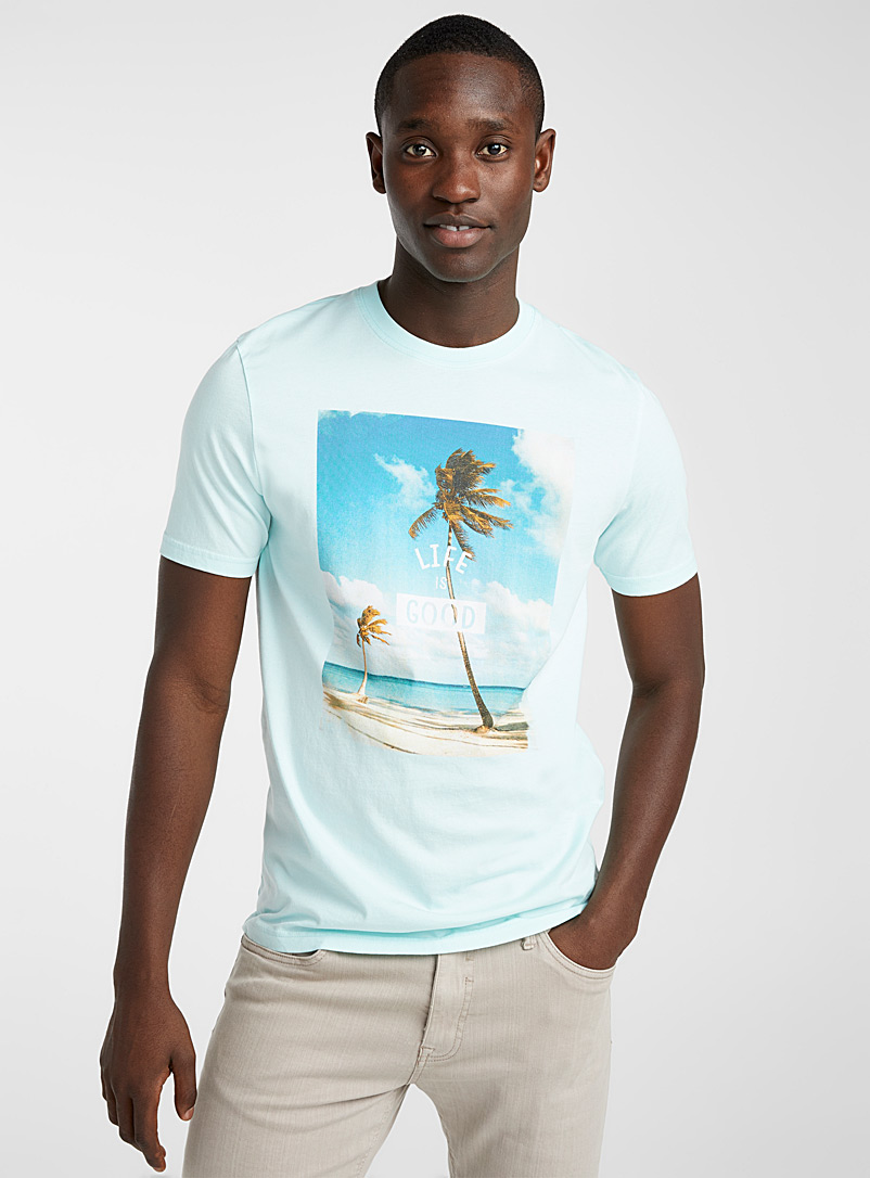 Le 31 Lime Green In the tropics T-shirt for men