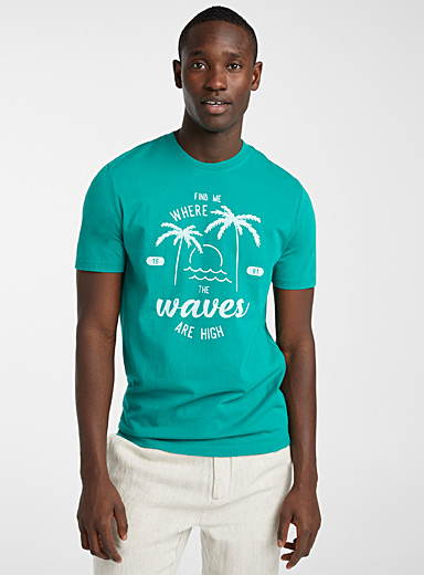 Le 31 Teal In the tropics T-shirt for men