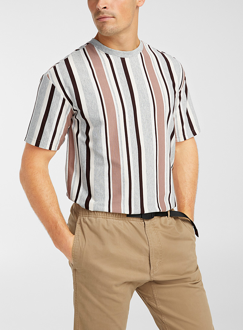 Le 31 Sand Bright accent-stripe T-shirt for men
