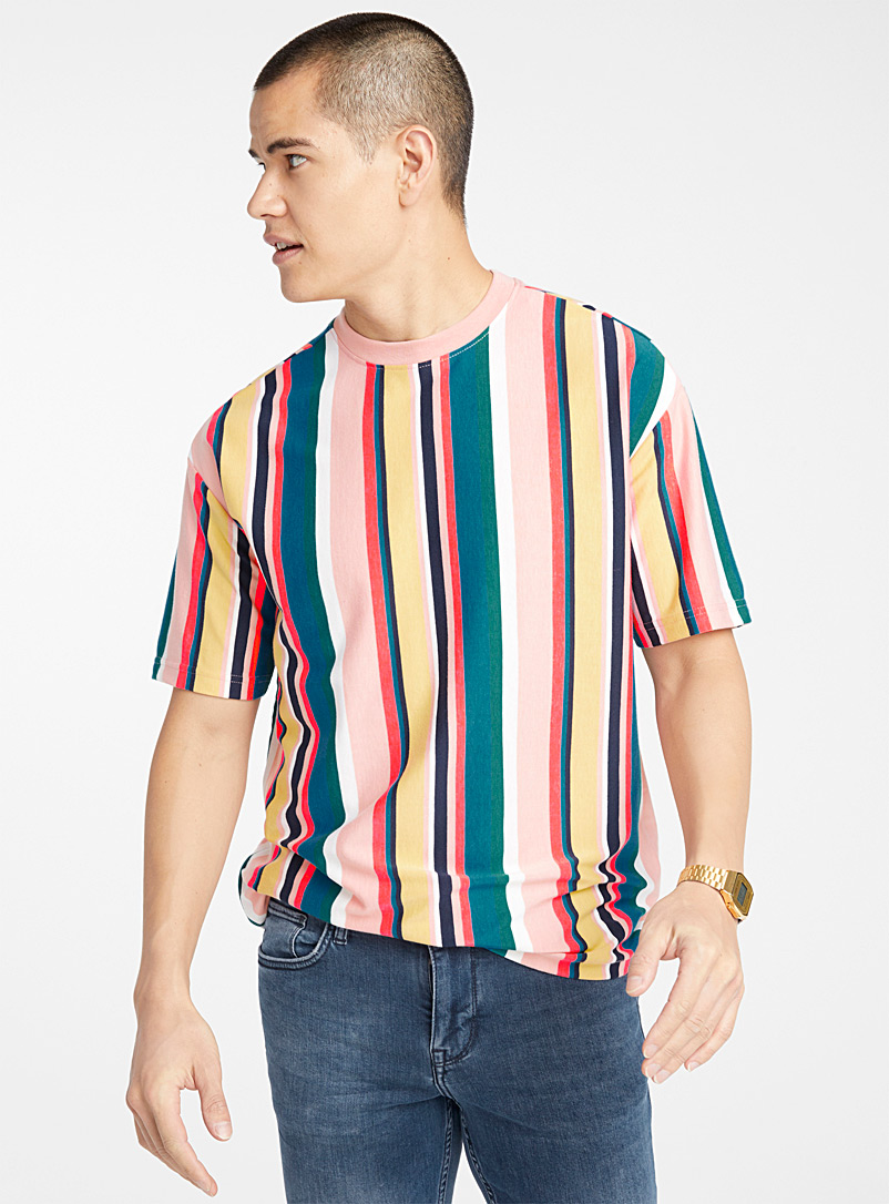 Bright accent-stripe T-shirt