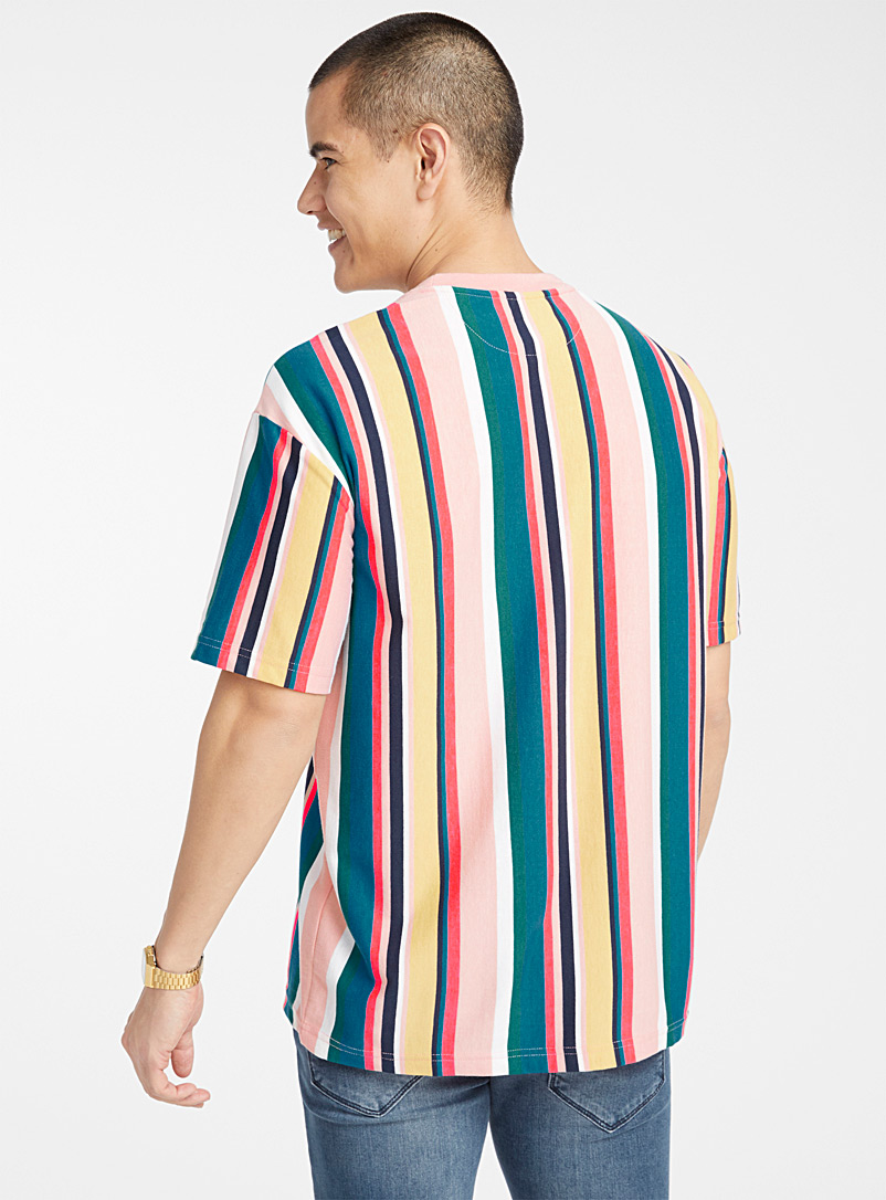 Bright accent-stripe T-shirt - Short sleeves & 3/4 sleeves - Pink