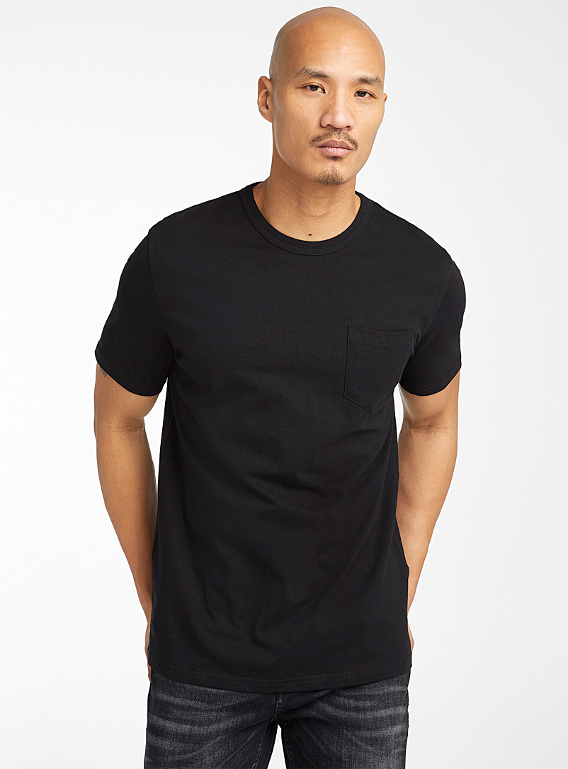 Le 31 Black Recycled cotton pocket T-shirt for men