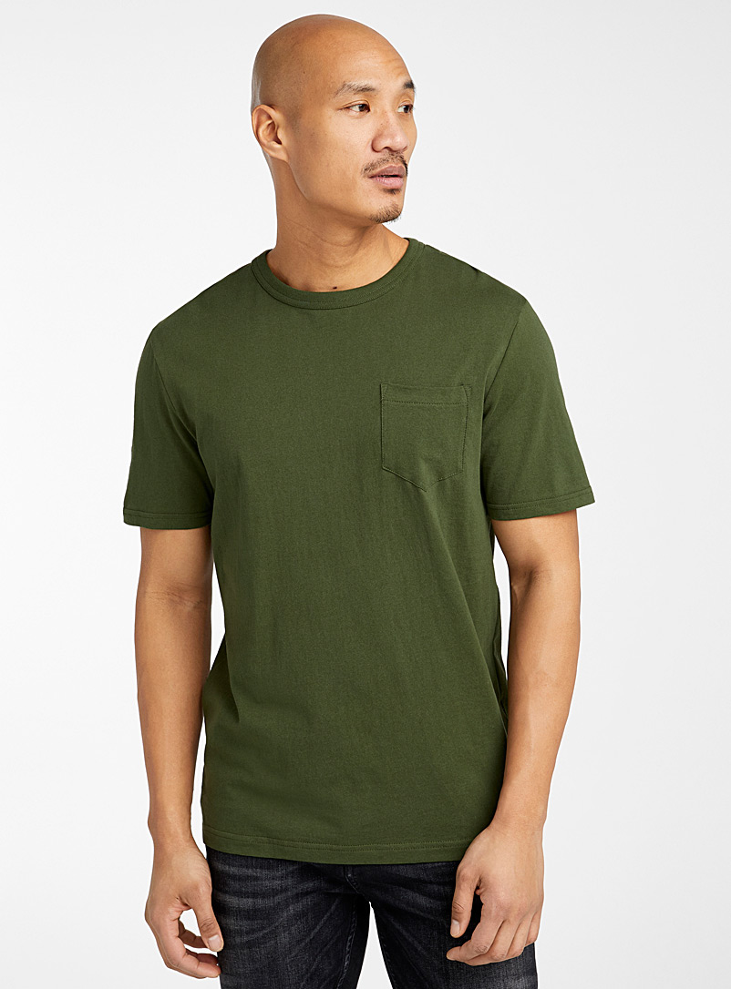 Le 31 Mossy Green Recycled cotton pocket T-shirt for men