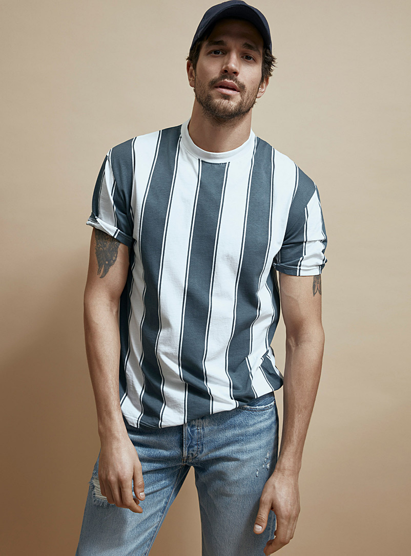 Le 31 Dark Blue Vertical block-stripe T-shirt for men