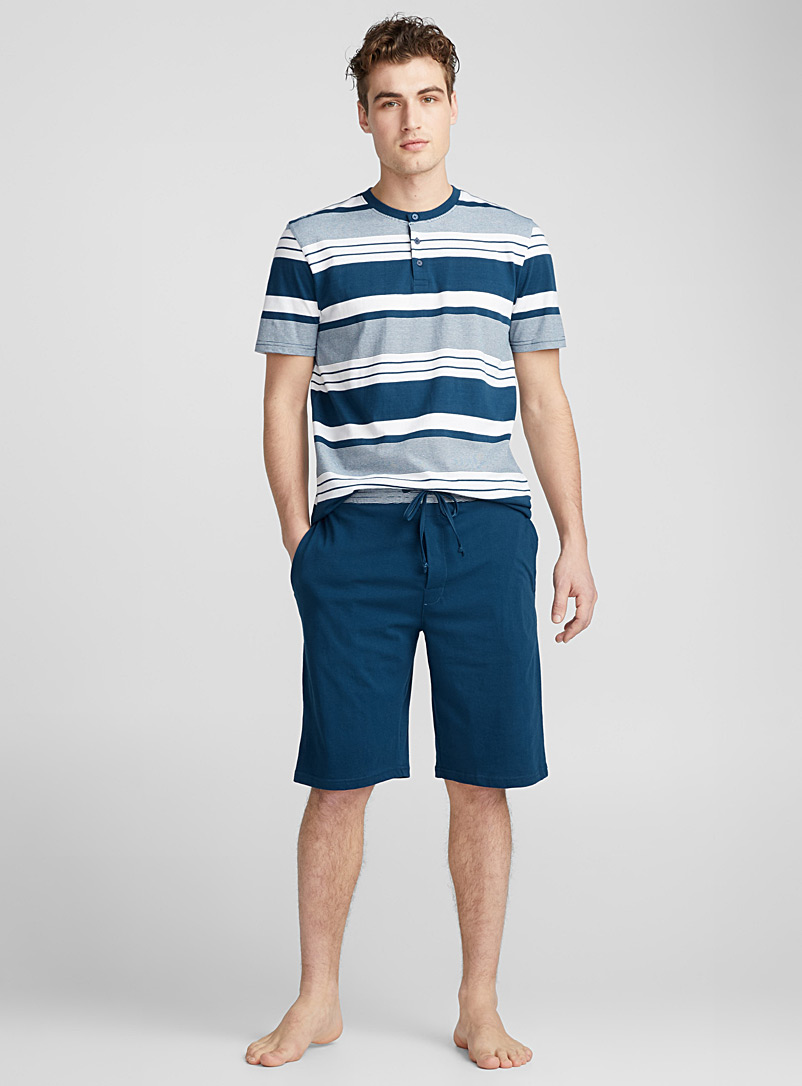 Jersey organic cotton lounge Bermudas - Sleepwear & Leisurewear - Blue