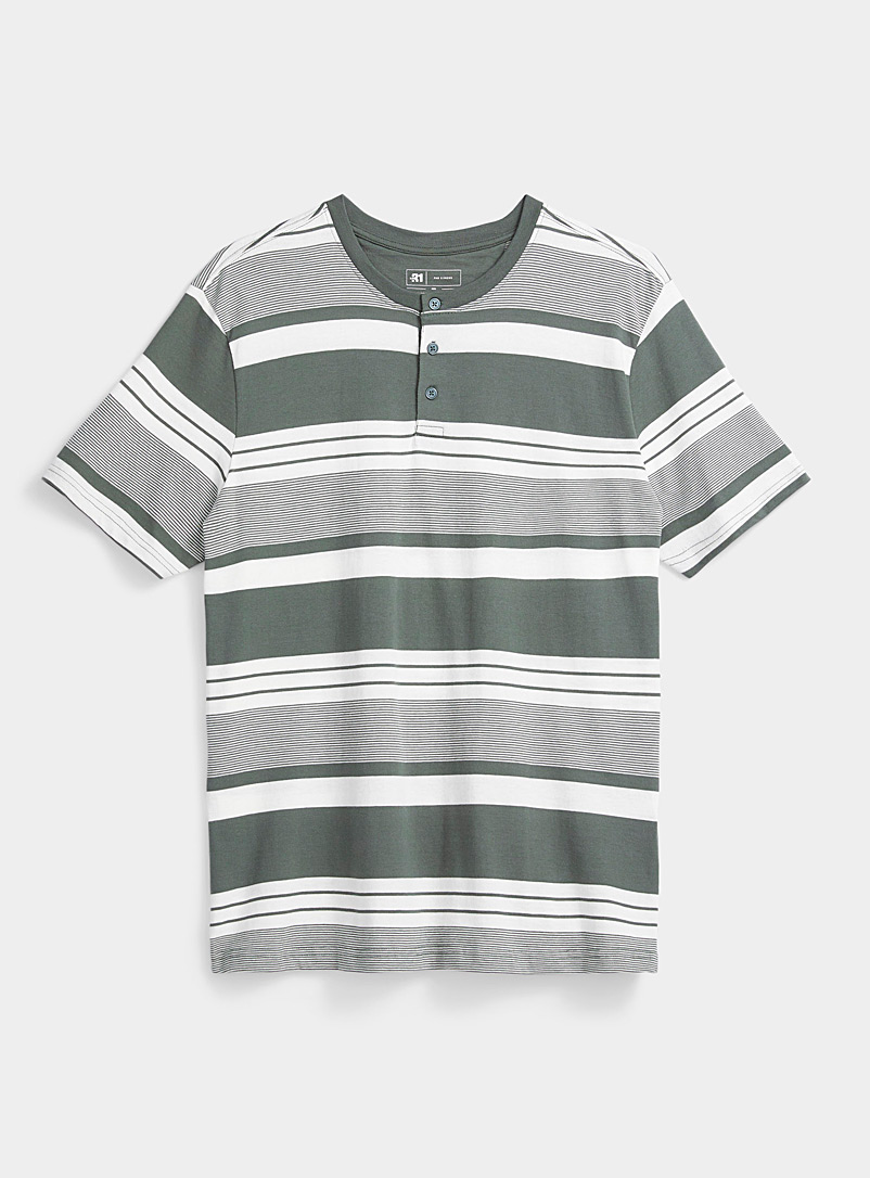 Le 31 Mossy Green Striped organic cotton lounge T-shirt for men