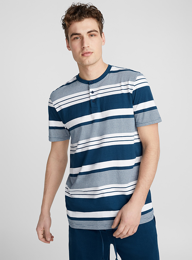 Striped organic cotton lounge T-shirt