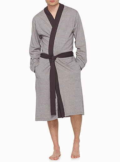 Heather striped contrast trim robe