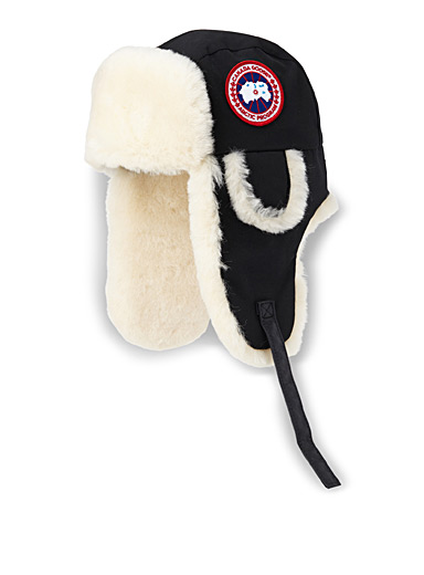 Sheepskin-lined trapper hat