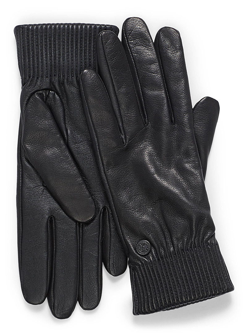 Ribbed leather gloves - Leather & Suede - Black