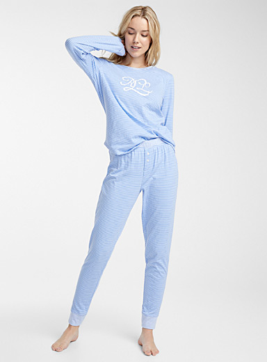 Pinstripe and logo pyjama set