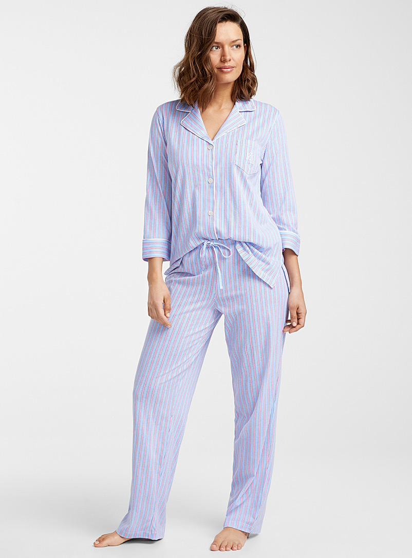 Lauren par Ralph Lauren Grey Striped trimmed pyjama set for women