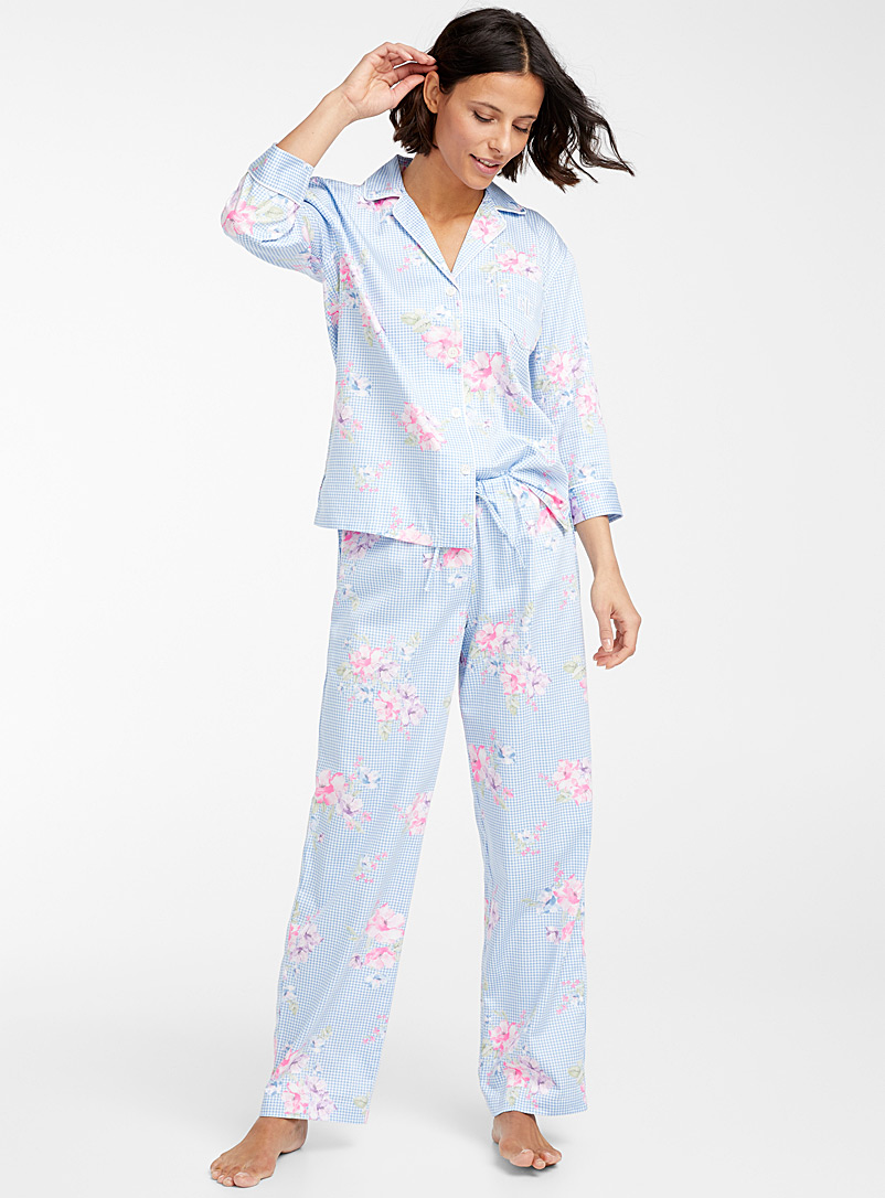 Lauren par Ralph Lauren Patterned Blue Floral gingham pyjama set for women