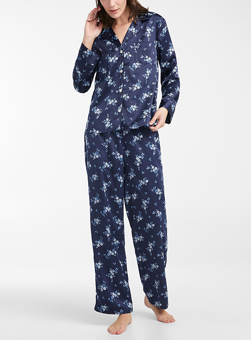 Lauren par Ralph Lauren Marine Blue Satiny garden pyjama set for women