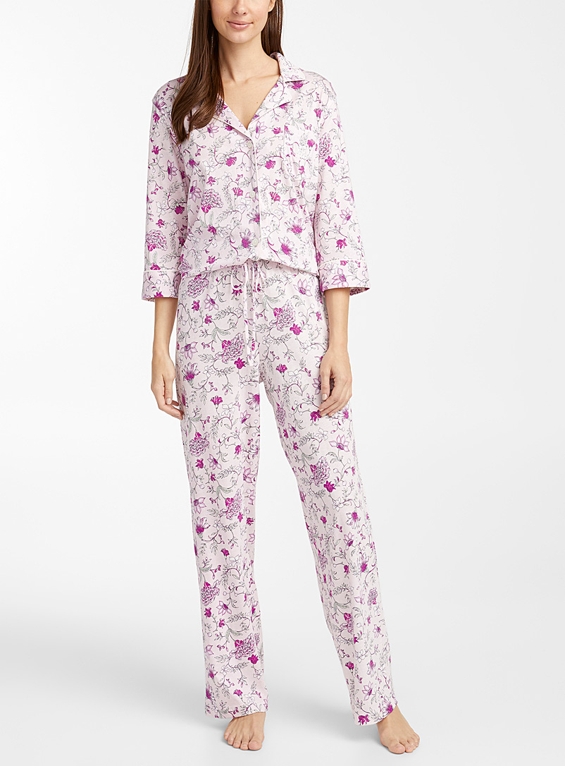 Pink bouquet trimmed pyjama set