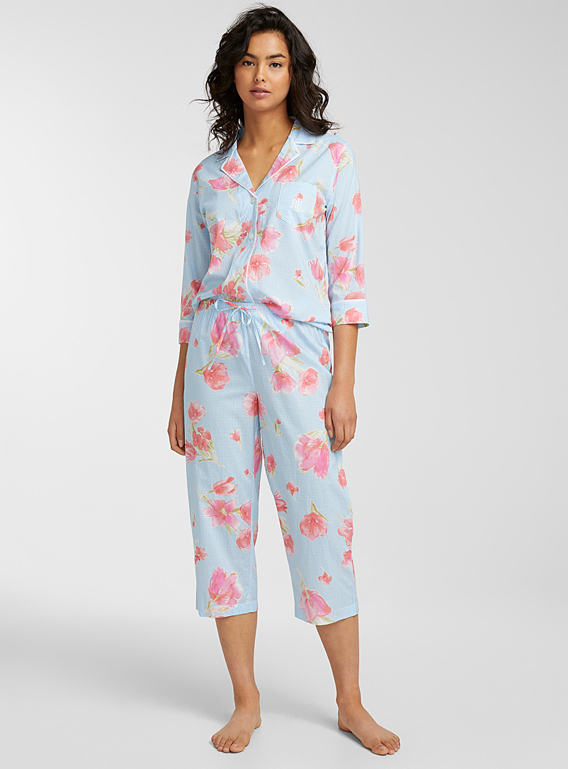 Lauren par Ralph Lauren Teal Tulip gingham pyjama set for women