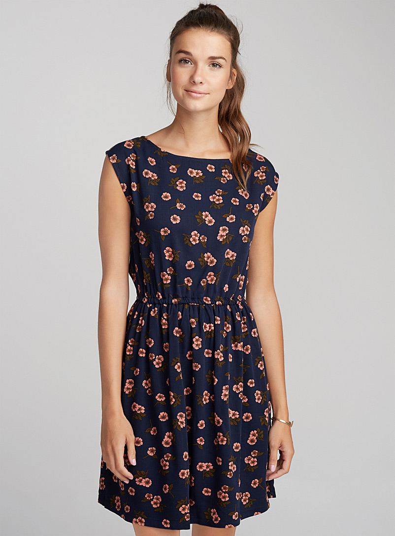 Belted patterned dress - Casual - Sapphire Blue