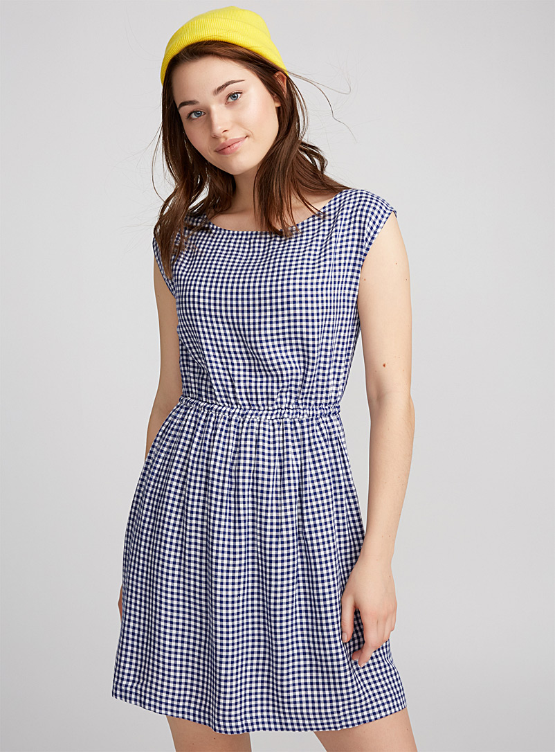 Belted patterned dress - Casual - Slate Blue