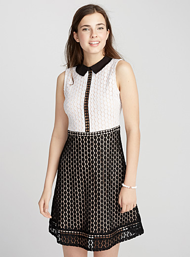 Two-tone geo lace dress