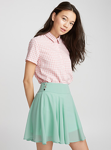 Three-button skater skirt