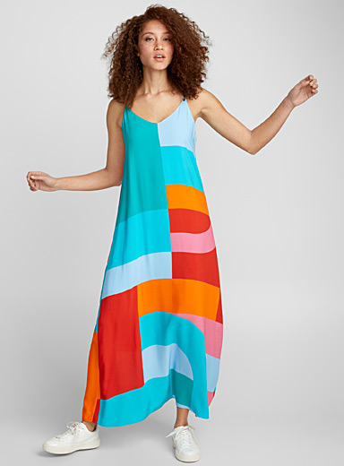 Mixed pattern maxi dress
