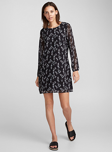 Bloused-sleeve floral dress