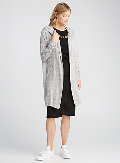Viscose hooded cardigan