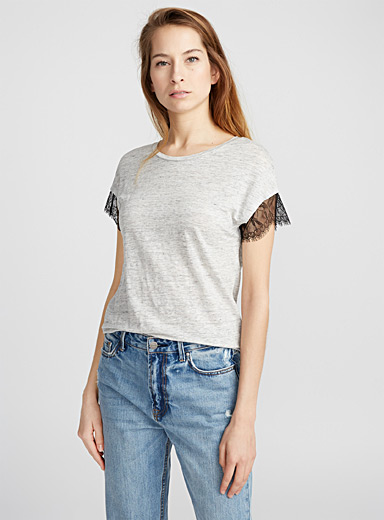 Lace-sleeve linen T-shirt